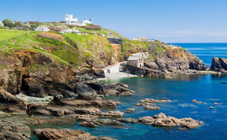 View towards Lizard Point with Polpeor Cove below. Cornwall England UK Europe