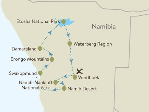 Namibia Itinerary Map
