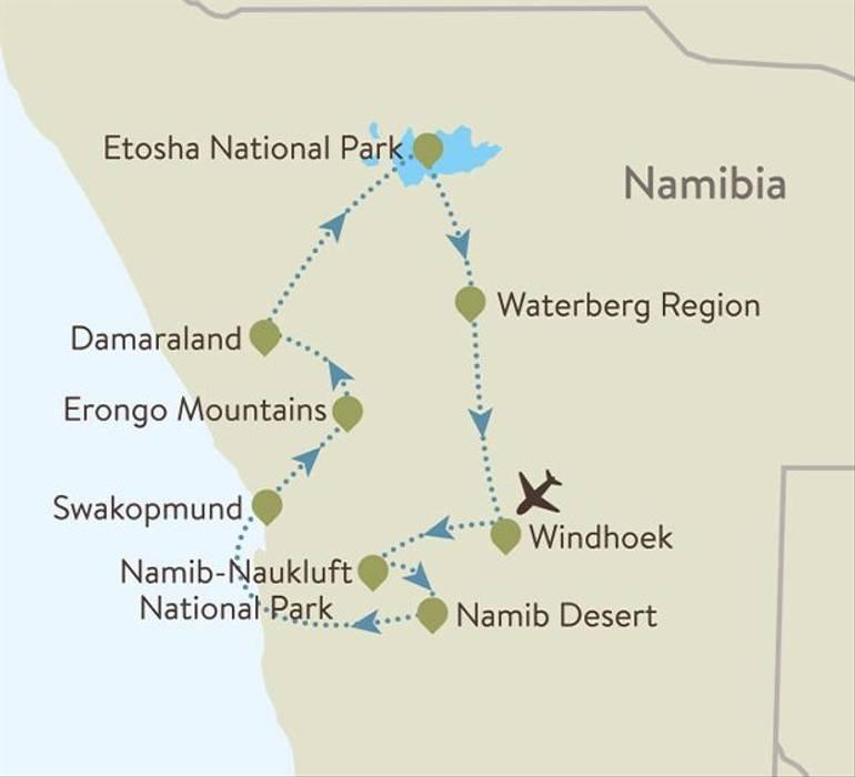 Namibia Itinerary Map