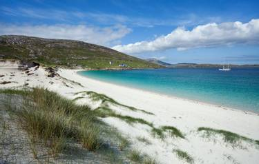 Hebrides in summer : colorful bay of Vatersay