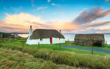 A thatched croft at Malaclate on the Isle of Uist in the Outer Hebrides