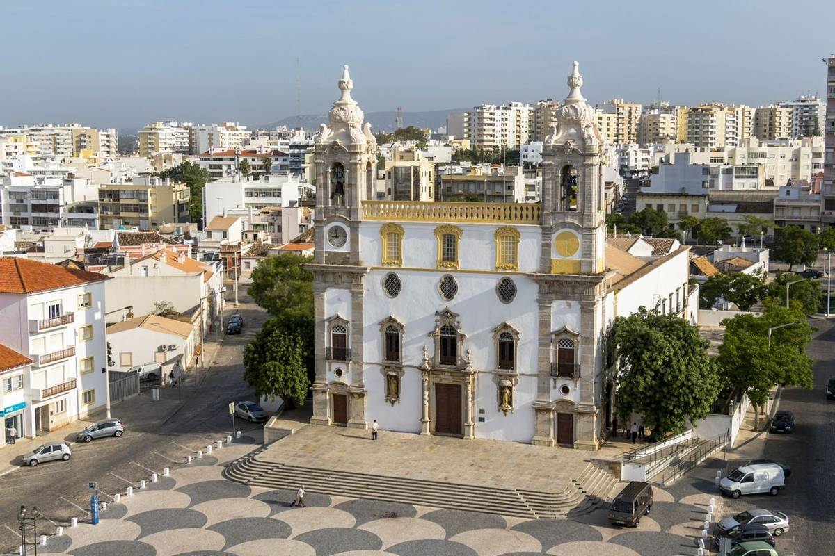 View on Cathedral in Old Town of Faro, Portugal