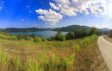 Scenic view on the Butoniga reservoir lake on a summer sunny day
