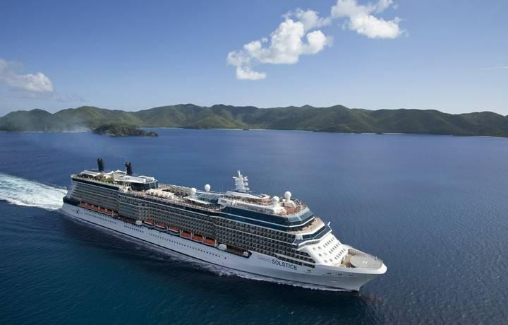 Celebrity Solstice  Aerial Images on ship leaving Tortola, BVI