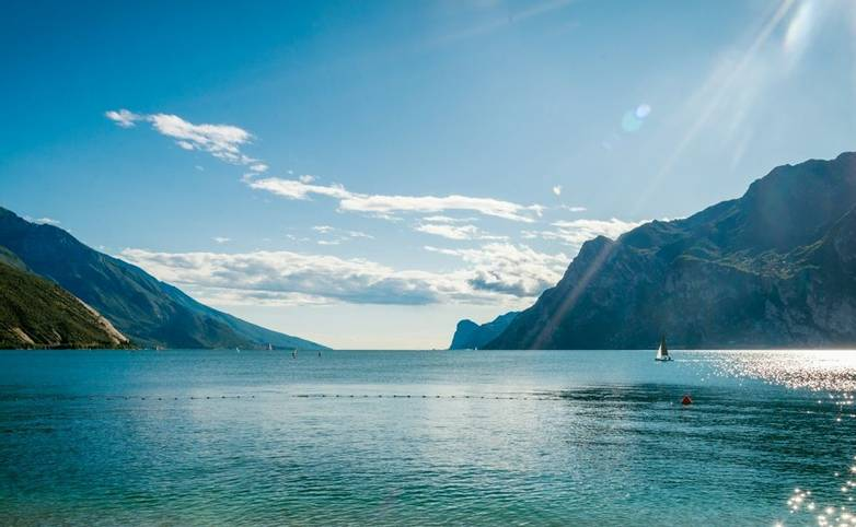 Lake Garda is the largest lake in Italy in summer