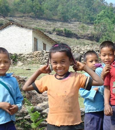 Nepalese boys near Dharapani (1,400m)