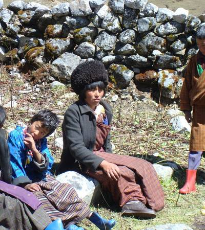 Lunap family near Thanza village in Lunana