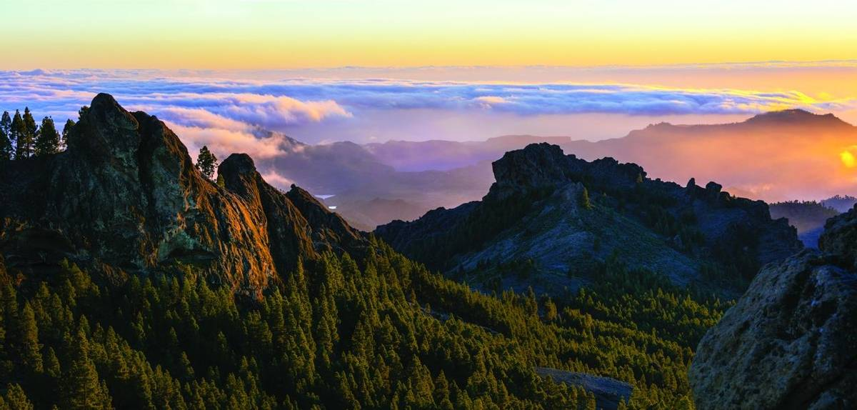 scenic mountain landscapes and natural park Roque Nublo  - Gran Canaria, Spain
