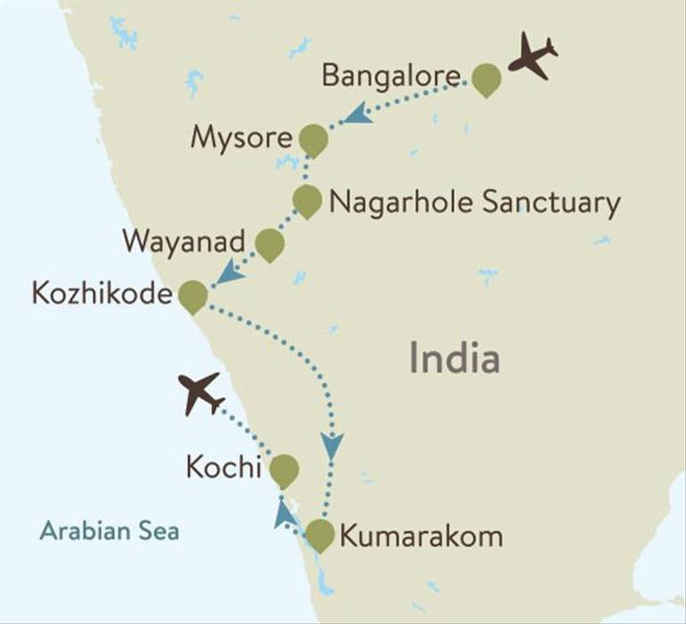 Kerala Itinerary Map