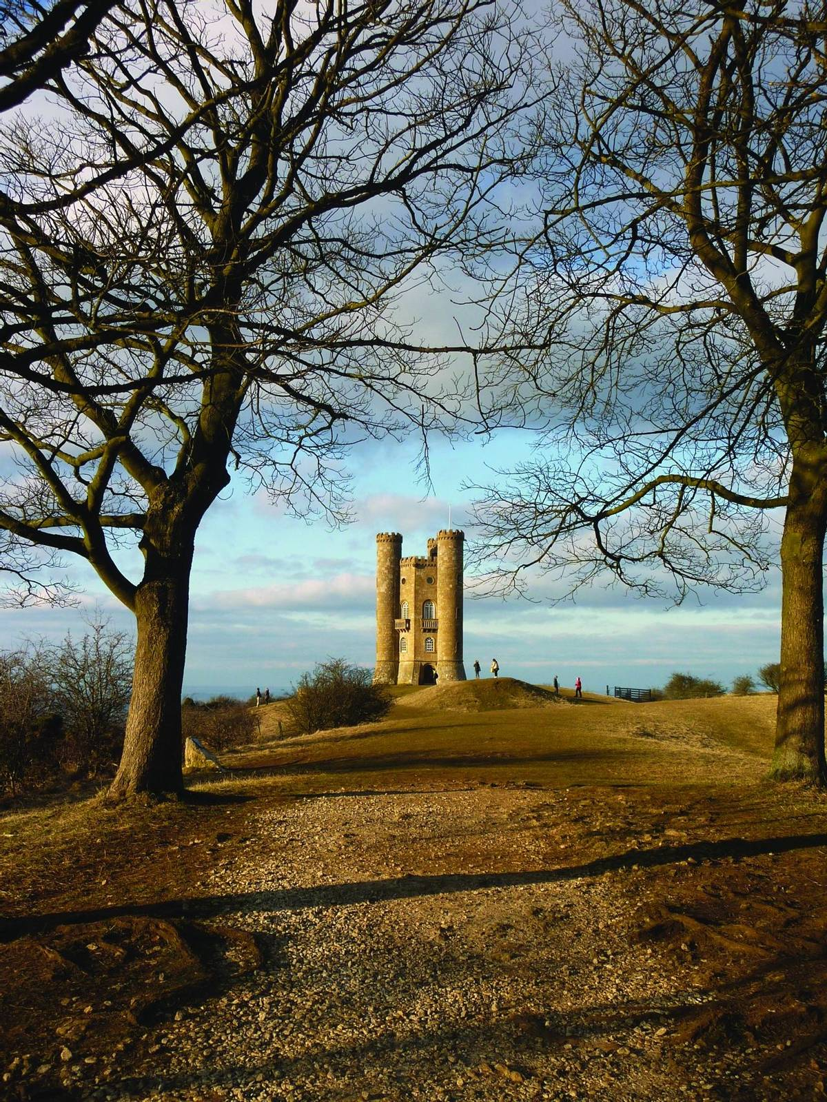 Famous Broadway Tower on a sunny day in autumn located close to the idyllic village Broadway in Worcestershire, England