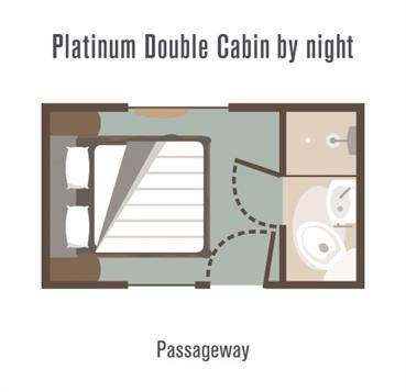 Great Southern Rail Platinum Cabin layout by night