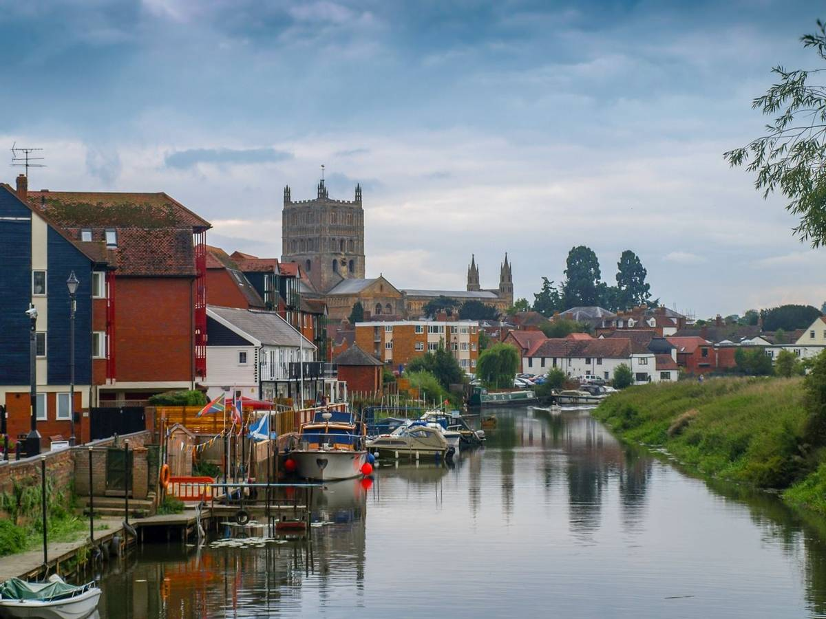 River view of the river avon with mooring boats in Tewkesbury in Gloucestershire, Great Britain.