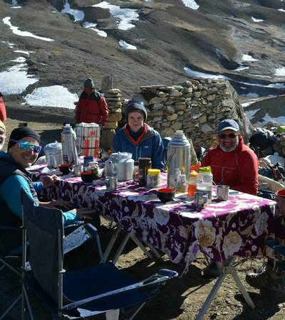 Breakfast at Bhrikuti BC (5,070m)