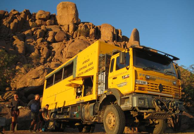 African overland truck at spitzskoppe Namibia