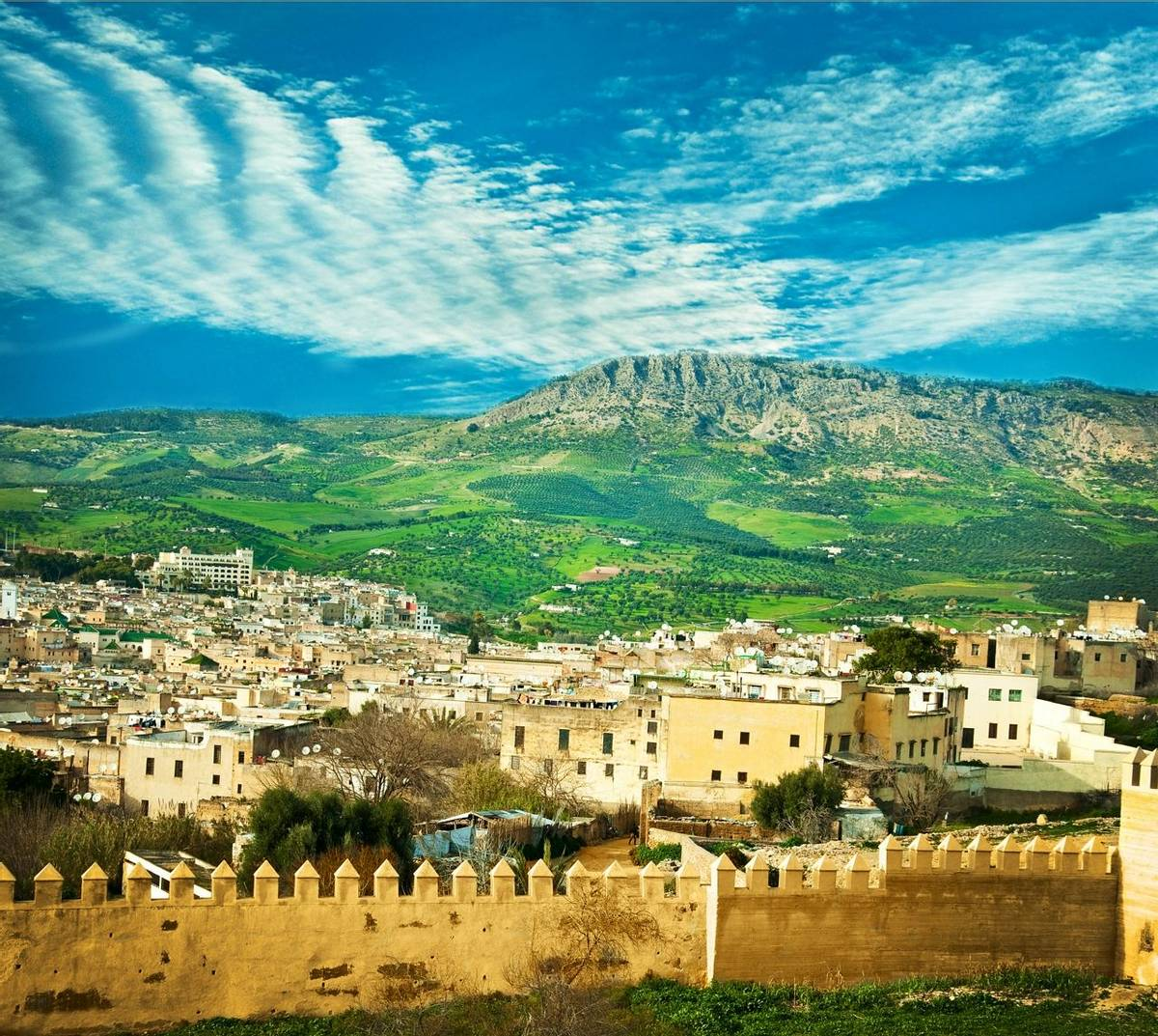 Morocco, a landscape of a city wall in the city of Fes