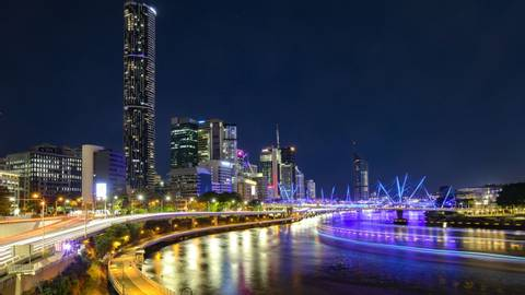 Brisbane city with Brisbane river and night lights