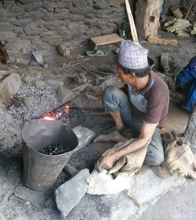 Blacksmith known as kami caste working in Dunchet village