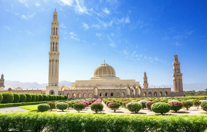 Gardens and the Muscat Grand Mosque (Oman)
