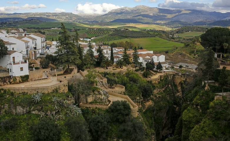 panoramic view of Ronda old town on Tajo Gorge, Andalusia, Spain