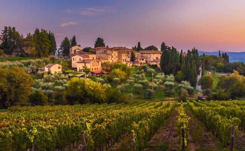 View on Fonterutoli on sunset. It is hamlet of Castellina in Chianti in province of Siena. Tuscany. Italy.