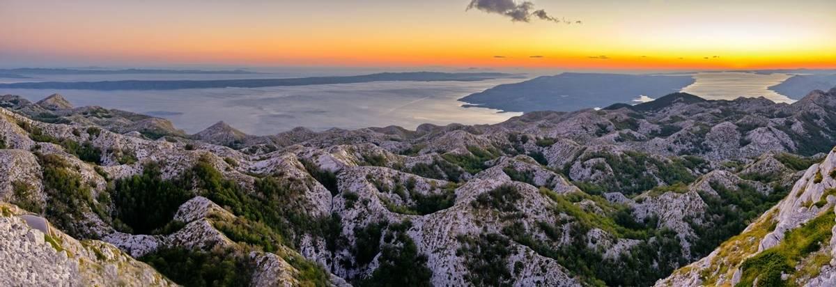 Sunset over Biokovo park mountains, Croatia