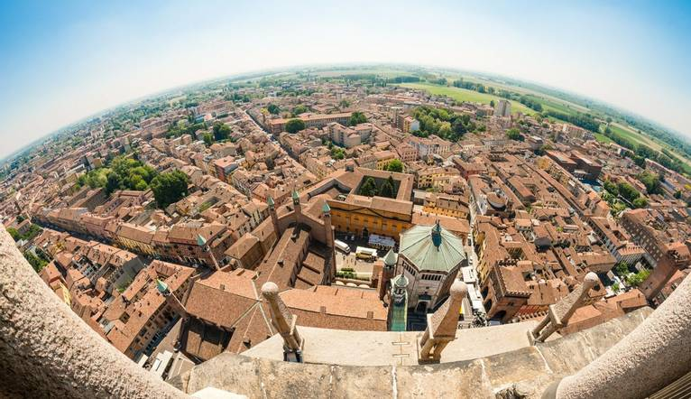 GettyImages 672823316 Fish Eye View From Torrazzo Bell Tower, Cremona