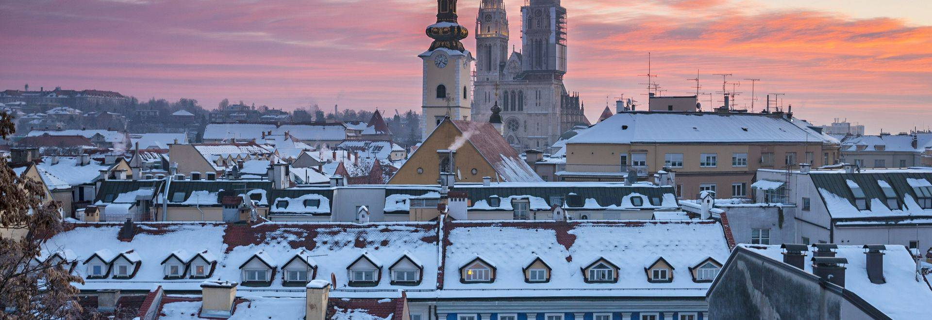 Panoramic view of Zagreb in winter, Croatia