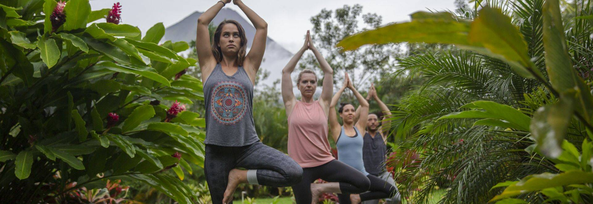 Costa Rica La Fortuna Arenal Volcano Hotel Garden Yoga Class CEO Group Tree Pose - 2018 0W3A7767 Lg RGB.jpg