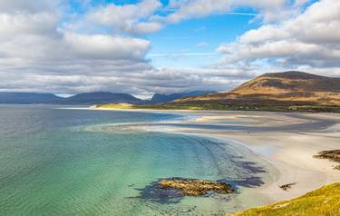 Looking down at the idyllic Seilebost Beach on the Isle of Harris in the Outer Hebrides