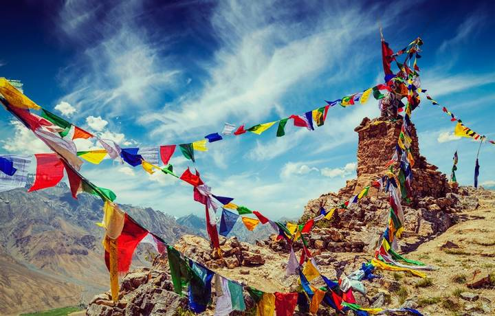 Vintage retro effect filtered hipster style image of Buddhist prayer flags (lungta) in Spiti Valley, Himachal Pradesh, India