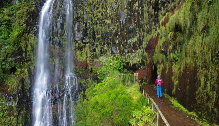 A levada is an open canal or irrigation channel very specific to the island of Madeira.  Here we can see the Risco waterfall…