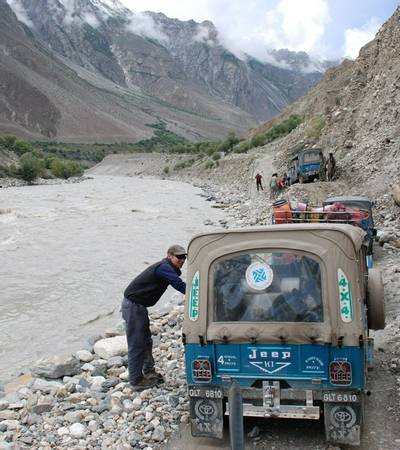 Jeeps on the narrow track from Skardu to Askole village