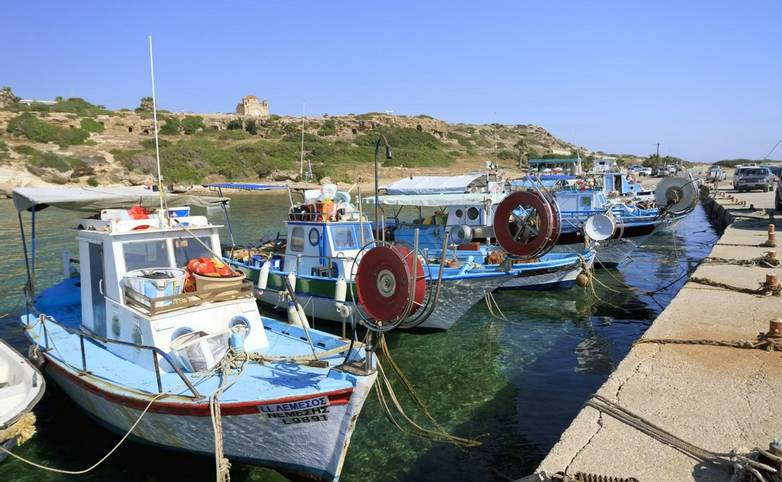 Typical fishing boats moored at Agios Georgios marina, Paphos, Cyprus