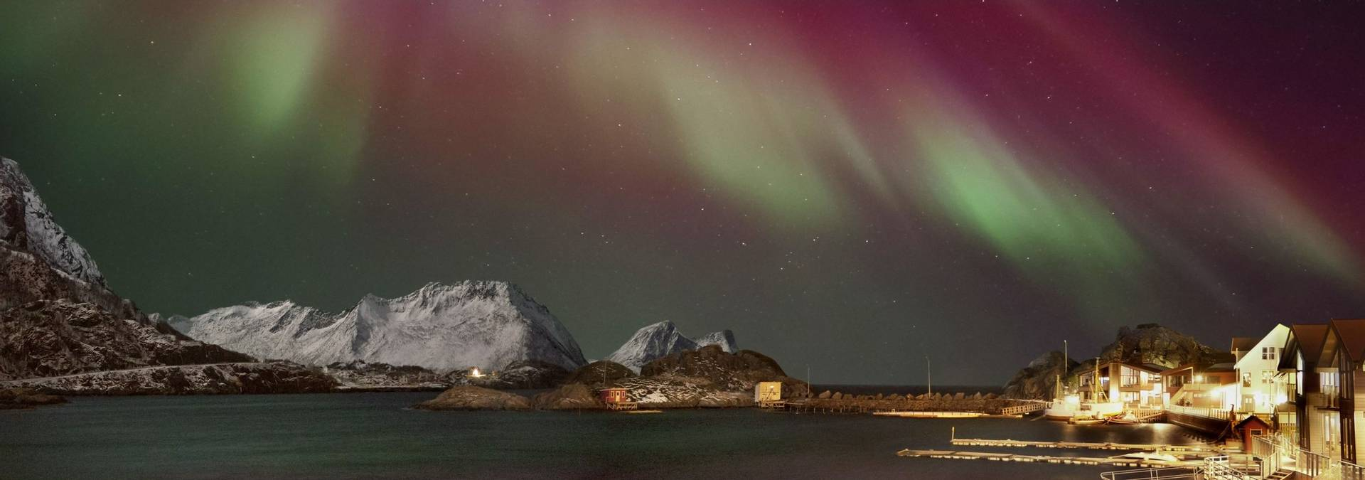 Northern Lights Panorama In Hamn I Senja  CC Mieke Geenen