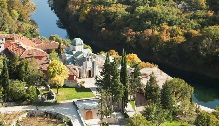 Aerial view of Tvrdos monastery near Trebinje, Bosnia and Hercegovina