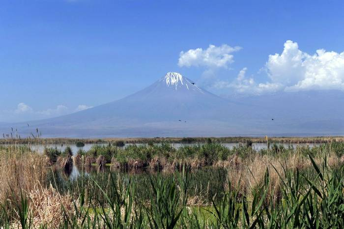Armash Fishponds looking West to Little Ararat by Clive Pickton