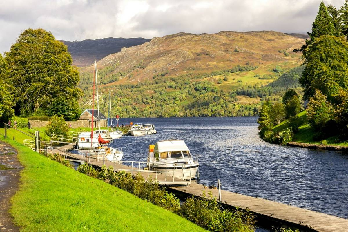 Caledonian Canal entry to Loch Ness at Fort Augustus, Scotland