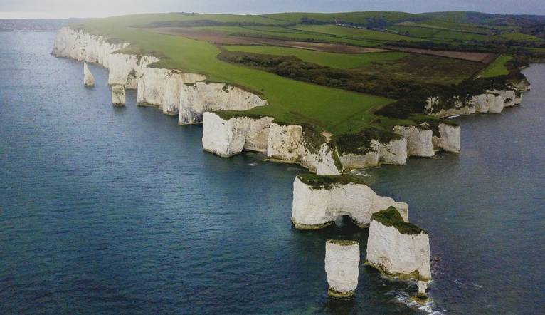 Old Harry Rocks on the Purbeck Coast in Dorset taken from a drone