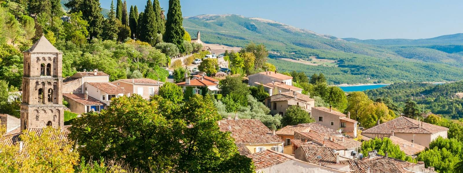 The village of Moustiers-Sainte-Marie in Provence (France)