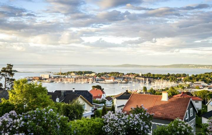 Panorama of charming town of Horten located on Oslofjord, Norway