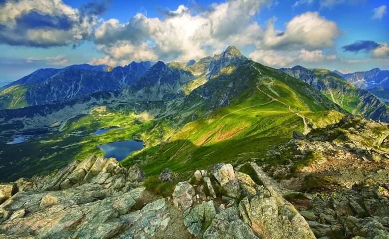 View from Kasprowy Wierch in High Tatra Mountains, Poland