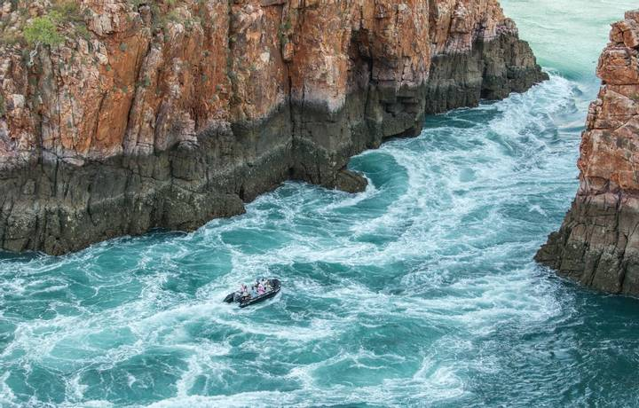 The Horizontal falls phenomenon in Talbot Bay, Kimberley.