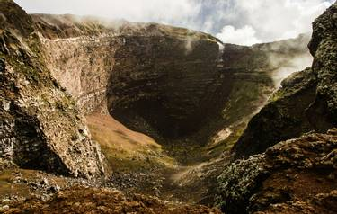 Crater of dormant Vesuvius - one of the most dangerous volcanoes in the world, Naples, Italy