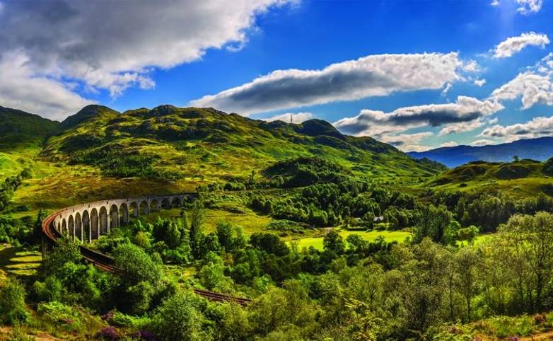 Panorama of Glenfinnan Railway Viaduct in Scotland and surrounding mountains
