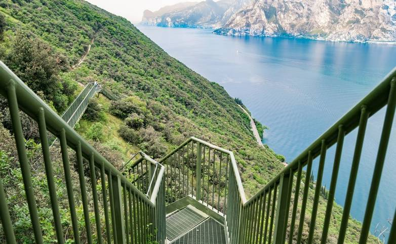 Panoramic iron staircase on Lake Garda