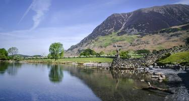 The south edge of Crummock Water with Rannerdale in the background
