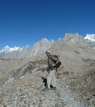 Walking on Baltoro glacier near Urdukas