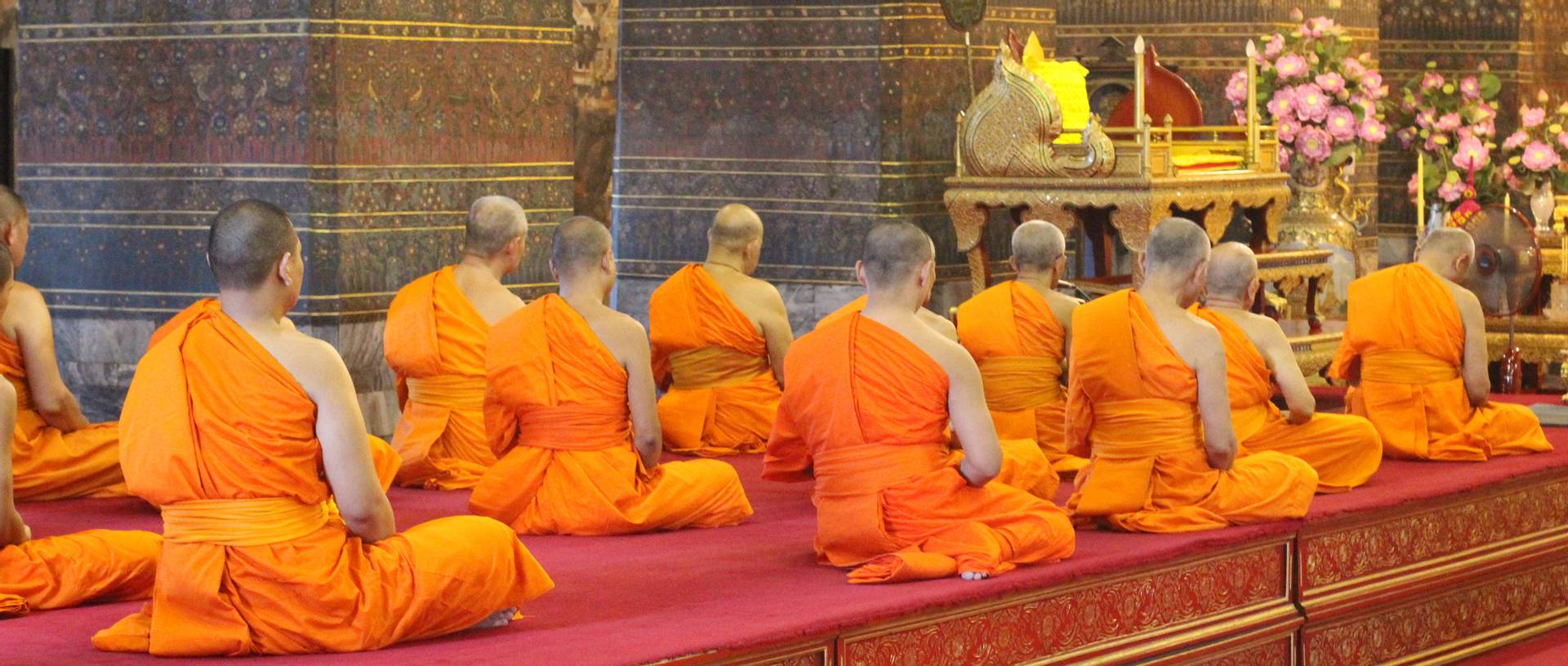 Worshippers Praying Inside The Temples Of Bangkok
