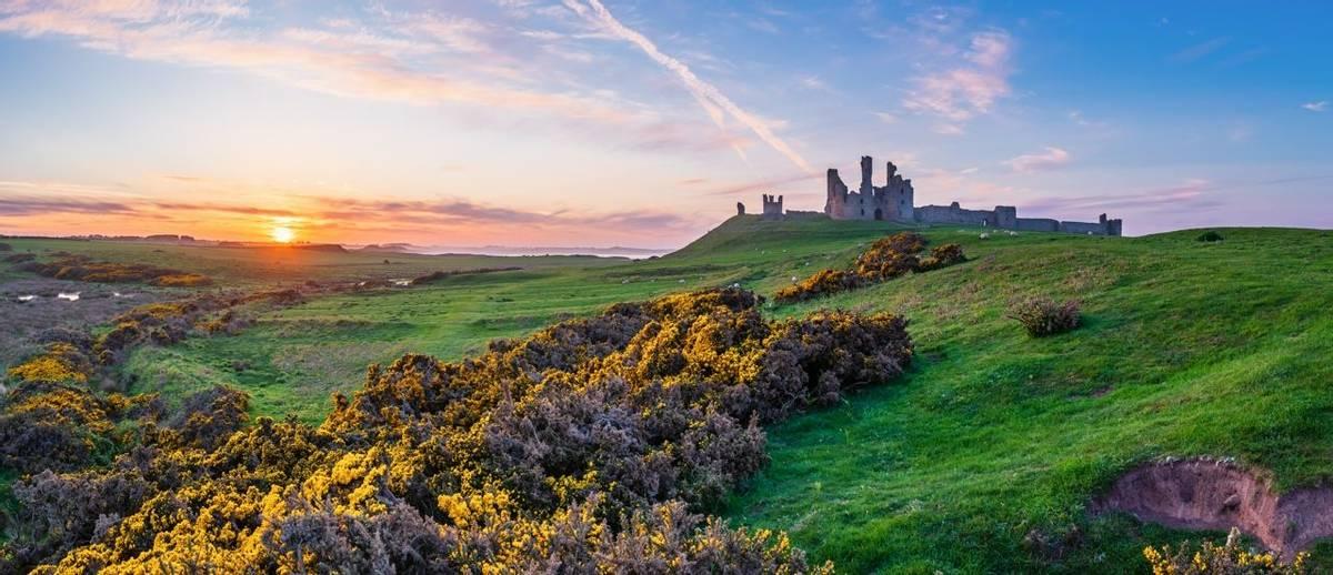 Dunstanburgh Castle Panorama at Sunset