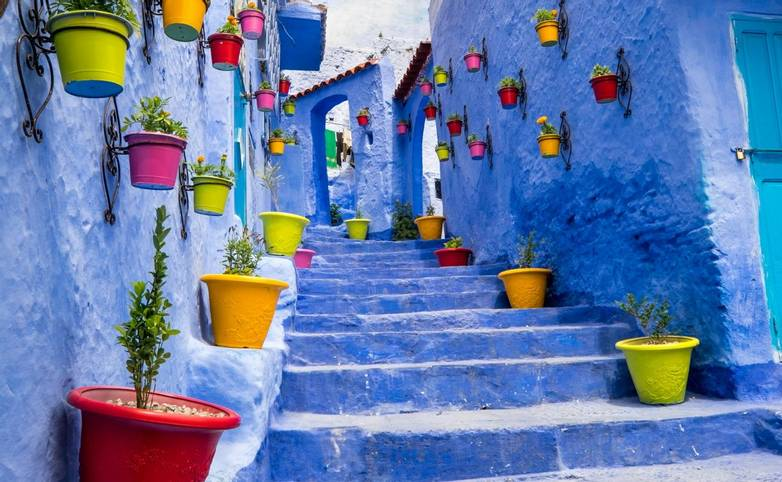 Africa,North Africa,Morocco, Chefchaouen or Chaouen  is most  noted for its small narrow streets and neighborhoods painted i…